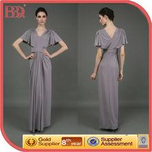 Designer Mature Sexy Chiffon Evening Dress with Sleeves