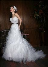 strapless white beautiful organza wedding dresses latest mature wedding gown