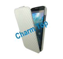 2013 White Carbon Fiber Flip Leather Case For Samsung Galaxy S4
