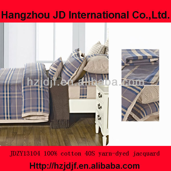 European style pure cotton yarn-dyed hotel bedding set