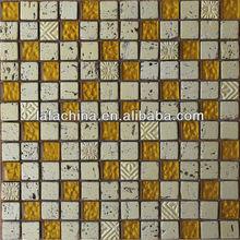 Crystal, resin and travertine mosaic tile SJGD-323