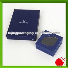 Blue branded jewelry box with window