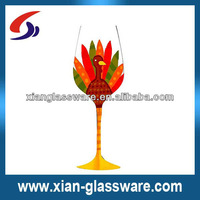 wholesales Turkey hand painted stem wine glass for Thanks Giving Day