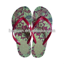 transfer printing women's flip flops/women's slippers/sandals/shoes with Thermal transfer insole(HG13017