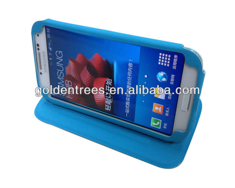PU leather case for Samsung galaxy S4 Auto on/off flip cover open kick stand case