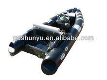 CE 4.7m 7persons black fiberglass deck rigid inflatable boat