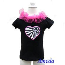 Girls Black Short Sleeves Top Shirt with Zebra Print Heart