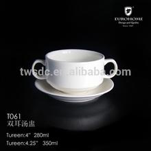 T061 European stylish porcelain soup pot , porcelain soup tureen, porcelain soup cup for hotel use