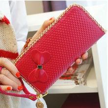 2013Korea style fashion cute bow knot women wallet,Guangzhou import PU ladies zipper wallet with wristbands purse
