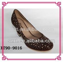 round metal studs pump shoes , mid heel women shoes