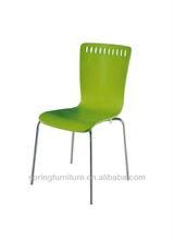 Cuatro patas de plástico verde silla de madera contrachapada ct-802