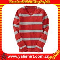 2013 high quality fashion soft cotton loose v-neck long sleeve men red white striped tshirt