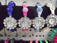 latest knitted watch bracelets with rhinestone beads