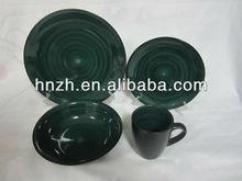 bursh dark green ceramic two tone table ware