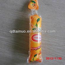 orange printed and bottle shape soft plastic drink/juice/beverage packaging bag