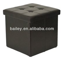 collapsible leather button folding cube storage ottoman
