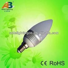 El ahorro de energía llevó la luz de la vela de la serie Alumiumn + cubierta de la PC 2.5 W FR-4 E14
