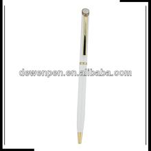Epoxy top twist metal ball pen slim metal hotel pen with logo
