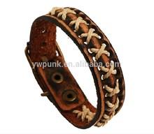vintage tessuto di pelle di mucca vera fatto a mano in pelle marrone braccialetto intrecciato cinturino in cuoio cinturino in marrone