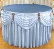 100% satin polyester plain white hotel round table skirt