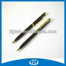 Thin Gold Middle Ring Metal Ball Pen Hotel Pen Cheap Logo Pen