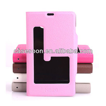 Lychee PU Leather case for Nokia Lumia 820 With Stand with caller ID display function