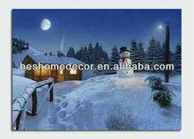 snowman design of led canvas painting,landscape design