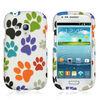 LATEST ARRIVAL Samsung GALAXY S 3 MINI I8190 CASE WHITE MULTI DOG PAWS FACEPLATE HARD COVER