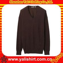 Custom fashion comfortable v-neck plain soft cotton pullover mens design of hand knitting sweater