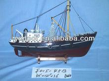 dark red and black. Fishing ship model / 45cm length /wooden boat model