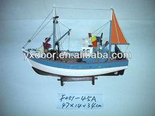 Fishing ship model / 45cm length /wooden boat model, Light blue, with orange sail