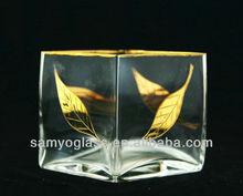 clear handmade cube glass vase 417