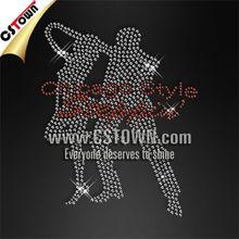Dance design clothes hotfix custom rhinestone motif