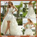 customed gw0650 querida organza cristal curto frente e longo atrás do vestido de casamento