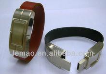 100% full capacity ,Customized Logo leather usb bangle