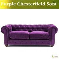 Purple Velvet Chesterfield Sofa - two seat