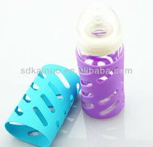 glass baby milk bottle silicone sleeve