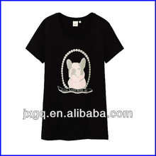 Ladies branded fashion new trend 100% cotton screen printing bamboo t-shirts wholesale