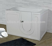 Acrylic white square handicapped walk in bath , freestadning soaking bathtub