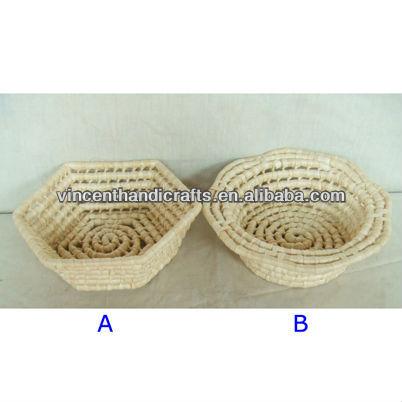 meyve veya ekmek hürmetkâr şekli yapımı mısır ip sepeti