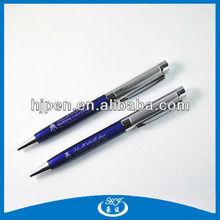 Heavy Brushed Design Cap Blue Metal Ballpoint Pen