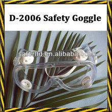 D-2006 white elastic PVC anti-fog safety dust goggles