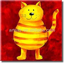 cartoon cat oil painting artwork for children