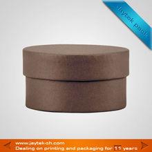 dark brown round hat storage box
