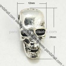 Tibetan Style Skull Beads, Halloween, Big Hole Beads, 4 mm Hole(TIBE-AD21014-AS-FF)