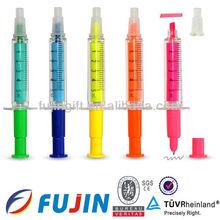 Needle free colored syringe shape barrel highlighter/ballpen /pharmaceutical promotional injection pen/mini syringe