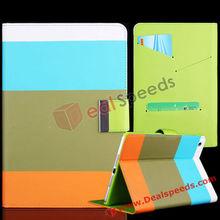 For iPad Mini Case!Special Rainbow Design Stand Folio Leather Shell Case for iPad Mini(Blue,Brown,Orange)