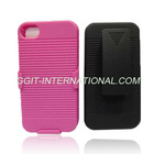 Shell Holster Case Combo with Stand for iPhone 4 4S Hard Black Swivel Belt Clip