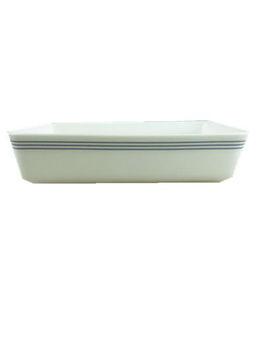 stock blue bond porcelain rectangular bake plate
