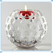 Fancy Faceted Crystal Ball Candle Holder For Wedding Decoration